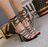 Rivets Hollow Women Fashion Peep Toe Strappy High Heels Shoes