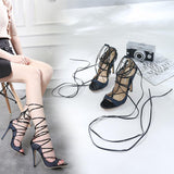 Crisscross Strappy Fashion Women Peep Toe Sandals High Heels Shoes