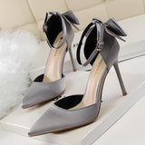 Bow Buckle Fashion Women Pointed Toe High Heels Shoes