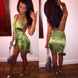 Sleeveless Halter Strappy Backless Off Shoulde Bodycon Mini Dress