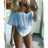 Off Shoulder Swimming Suit Bodysuit Ruffles Lace V-neck Jumpsuit Romper Leotard Tops
