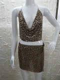 Deep V Neck Backless Strap Deep V Leopard Print Vest Tank Top Skirt Set