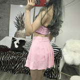 High Waist Pleated Solid Color Skirt