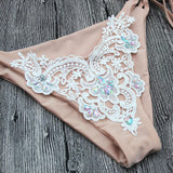 Sequins Lace Halter Fashion Bikini Set Swimsuit Swimwear