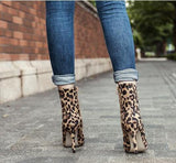 Leopard Print Zipper Women Fashion Pointed Toe High Heels Shoes