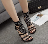 Hollow Rhinestone Women Fashion Sandals High Heels Shoes