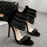 Rhinestone Zipper Fashion Women Sandals Peep Toe High Heels Shoes