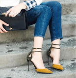 Ankle Strap Women Fashion Pointed Toe High Heels Shoes