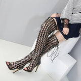 Hollow Rivets Fashion Women High Boots High Heels Shoes