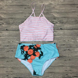 Fashion Print Stripe High Waist Bikini Set Swimsuit Swimwear