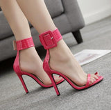 Ankle Strap Women Fashion Peep Toe Sandals High Heels Shoes