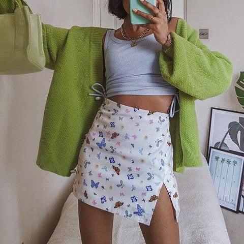 Cute Butterfly Graphic Mini Skirts for Women Chic E-girl High Waist Slit Hem Bodycon A-line Short Skirt Kawaii Bottoms
