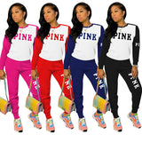 Activewear Sporty Tracksuit Women Casual Two Piece Outfits Pink Letter Print Long Sleeve Top and Jogger Sweatpant Color Block