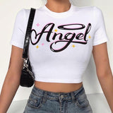 Sexy Round Neck Short Sleeve Angel Print Blue Crop Top Women Basic Casual Fashion T Shirt Streetwear
