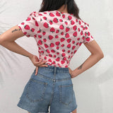 Strawberry Tshirt Kawaii V Neck Tops for Women Cute Pink Crop Top T Shirt Ladies Lace Up Basic Tee Shirt