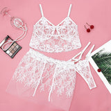 Embroidery Lace Erotic Underwear Plus Size Women Sexy Lingerie Hollow Underwire Bra Babydoll Mini Skirt With Thong Lingerie 3PC