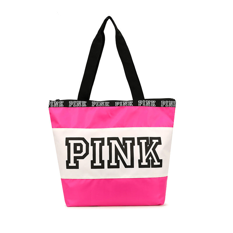 Fashion Pink Handbag Large Capacity Women Girls Pink Shoulder Bag Shopping Handbag Tote Bag Travel Bag