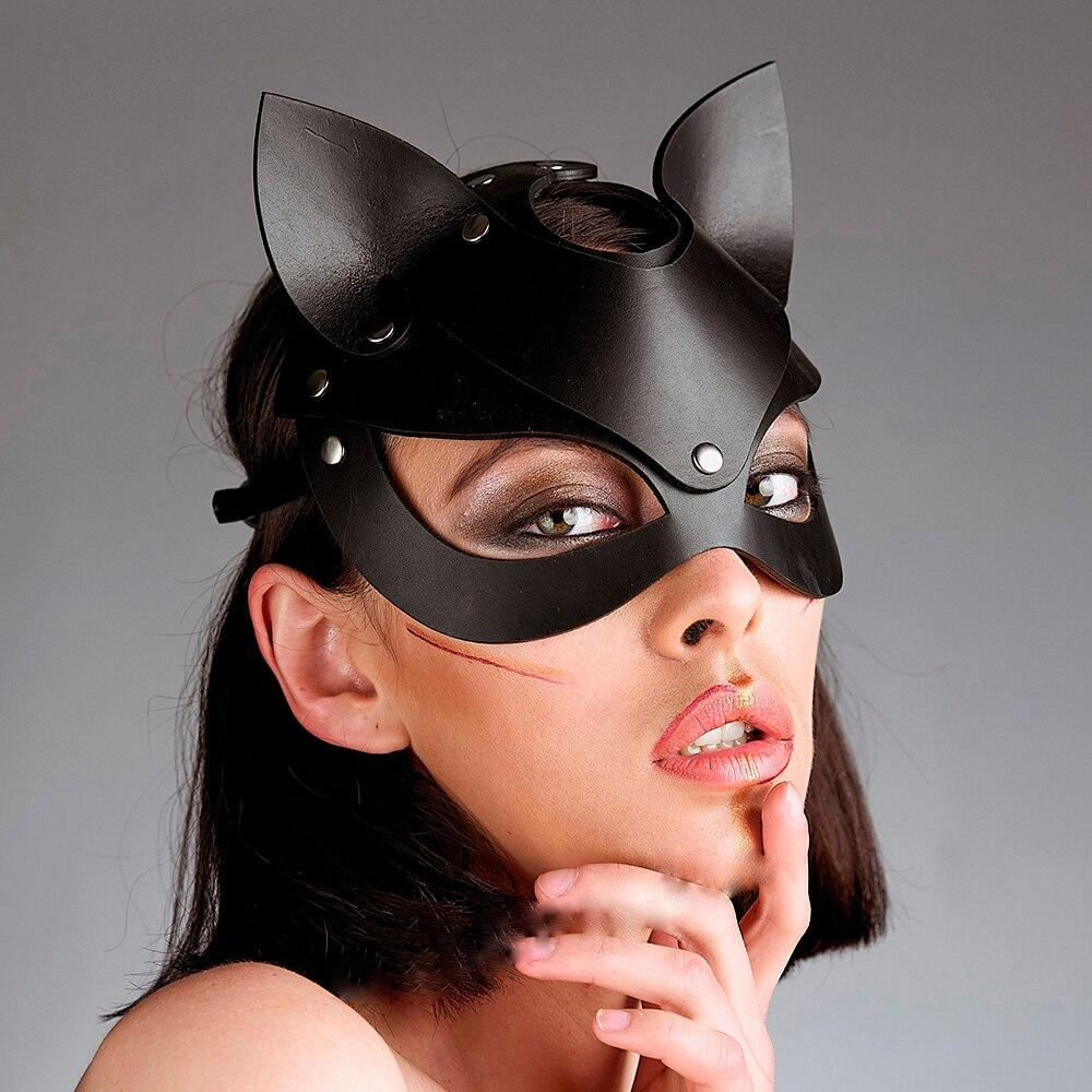 Sexy Cat Masks Fetish Wear Erotic Belts BDSM Leather Masks Adjustable Leather Harness Leash Goth Erotic Costumes Cosplay