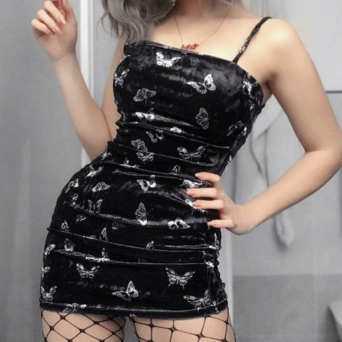 Women Gothic Spaghetti Strap Backless Off Shoulder Dresses Female Fashion Casual Print Sexy Mini Dress