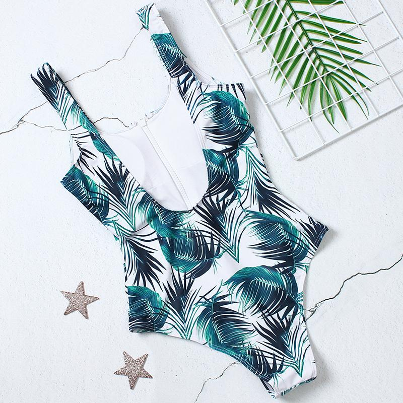 Sexy Zipper One Piece Swimsuit Women Swimwear Push Up Monokini Bodysuit Swimsuit Print Bathing Suit Summer Beachwear