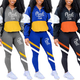 Women Letter Print Pink Two Pieces Clothes Set Full Sleeve Sweatsuit Casual Sporty Outfits Tracksuits