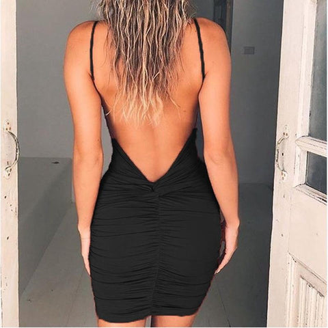 Sexy Womens Backless High Draped Slim Bandage Bodycon Evening Party Short Mini Dress