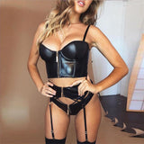 Women Slim Cropped Top Black PU Leather Zipper Camis Fashion Top Sleeveless Party Sexy Camisole New Arrival