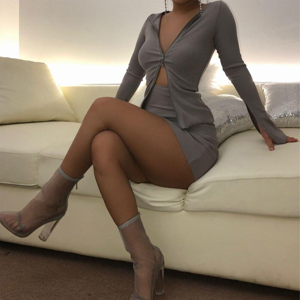 Women's Deep V-neck Open Chest Double Zipper Short Mini Dress Tight And Hip Lifting Sexy Long Sleeve Clothing