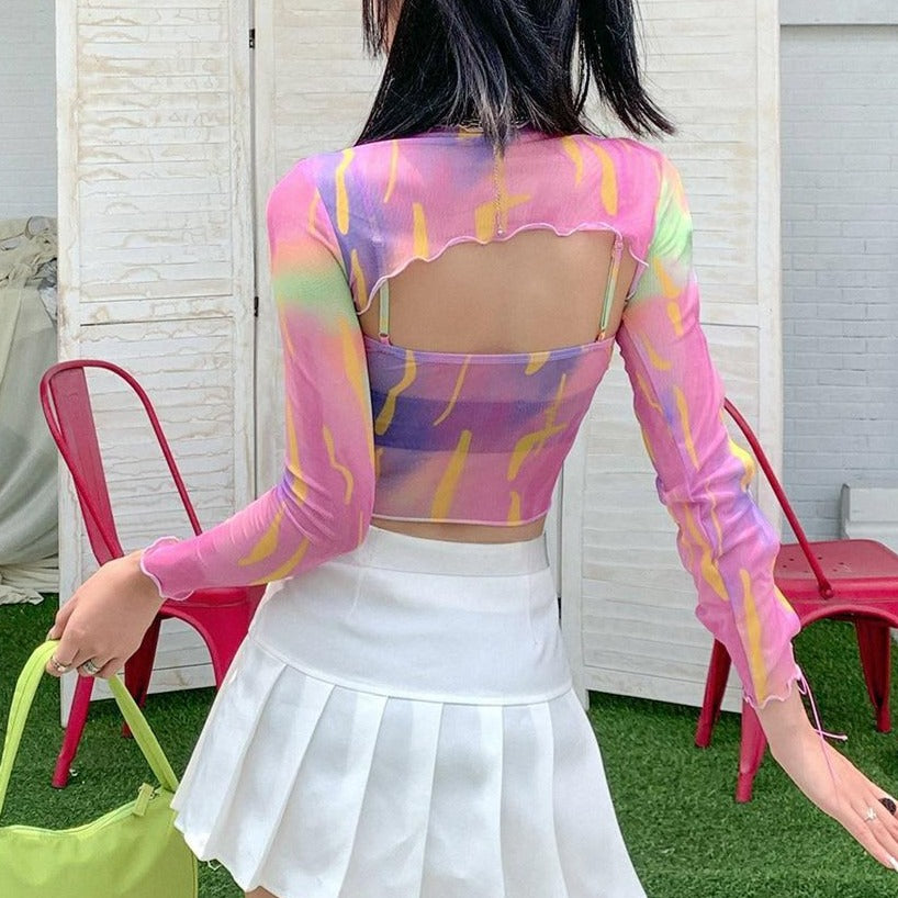 Sexy Fashion Hollow Out Female Two Piece Set T Shirt Casual High Street Colorful Slim Wild T Shirt Women