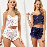 Sleepwear set Sexy deep V-Neck pajamas set for women femal Love print Sleeping pajamas Sleeveless nightwear with shorts