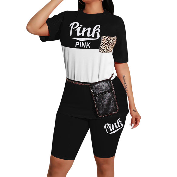Pink Letter Print Two Piece Set Hot Sale Casual Women O Neck Short Sleeve T-shirt and Matched Shorts Tracksuit