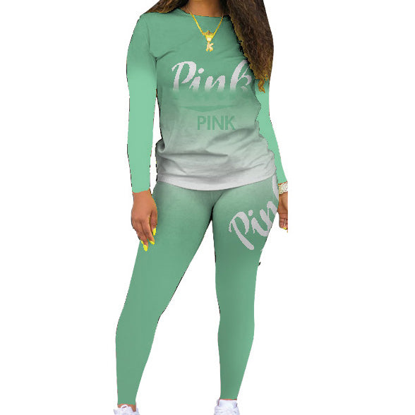 Pink Letter Two Pieces Sweatsuit O Neck Long Sleeve Print Two Pieces Outfits Lady Casual Slim Tracksuits