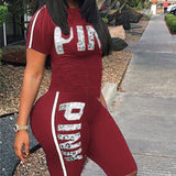 Letter Print Casual 2 Piece Set Tracksuit Fashion Ladies Clothes Sweat Suits Women Short Sleeve Two Piece Set