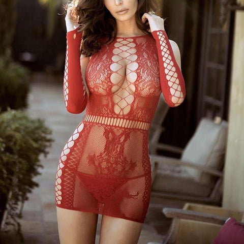 Porno Babydoll Erotic Dress Women's Sexy Lingerie Lace Hollow Out Nightdress Sexy Underwear Sleepwear Transparent Lenceria Mujer