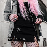 Zipper Up Women Skirts Metal Chain Modis Gothic Mini Skirt A-line Streetwear Female Party Outfits
