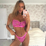 Sexy Lingerie Lace 3/4 Cup Bra Sets For Women Wireless Thin Breathable Comfortable Underwear Solid Color Lingerie Bralette Set