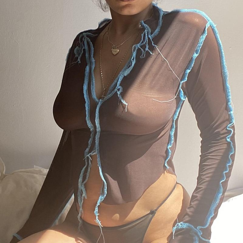 Sexy See Through T Shirt Fashion Long Sleeve T Shirt For Women Night Club Tops Roupas Feminina