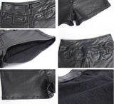 Sexy Tight Mid Waiste Black PU leather shorts For Women Tight Vintage Slim PU leather Shorts Femme Shorts