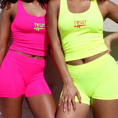 Letter Embroidery 2 Piece Set Women Casual Neon Color Tracksuits Streetwear Crop Top And Shorts Sets
