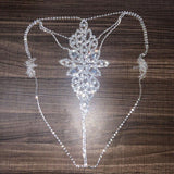 Crystal Shiny Rhinestone Sexy Chain Jewellery Bra and Thong Body Chain for Women Underwear Set Hollow Luxury Gifts
