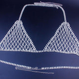 Mesh Crystal Bralette Underwear Sexy Jewelry for Women Bling Rhinestone Body Chain Bra Harness Waist Jewellery Party