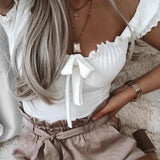 Ruffles Crop Tops Women Lace Up Tops Off shoulder Tops Ladies Elegant Bowknot Sexy Tops Streetwear Blusas