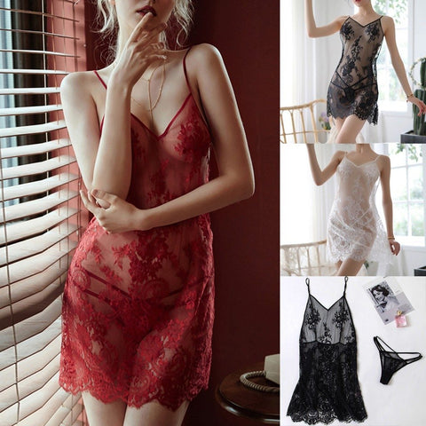 Sexy Lace Night Dress V-neck Sexy Sleepwear Nightie Perspective Mesh Mini Skirt Ladies Nightgown Backless Porno Lingerie