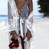 Swimwear Women Bikini Swimsuit Cover Up Dress Beach Dress White Lace Print Long Maxi White Dress Ladies Bathing Suit