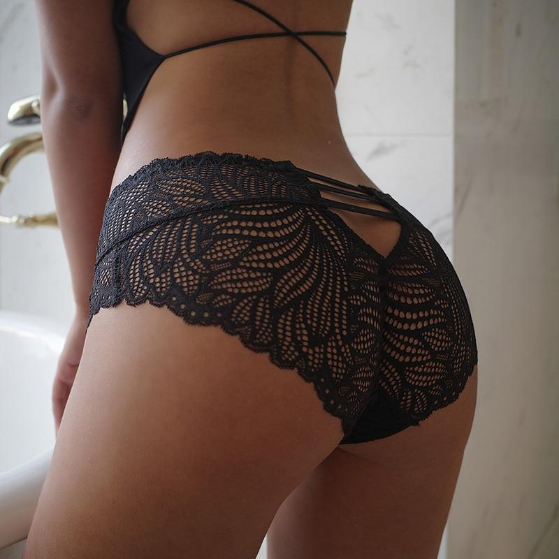 Sexy Panties Women Lace Low-waist Briefs Female Hollow Out Underwear Solid Lingerie Transparent Underpant