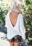 Backless Shirt Top Tee  Blouse