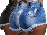 Hot Shorts Washed Jeans Denim Ripped High Waist Shorts Short Pants Plus Size