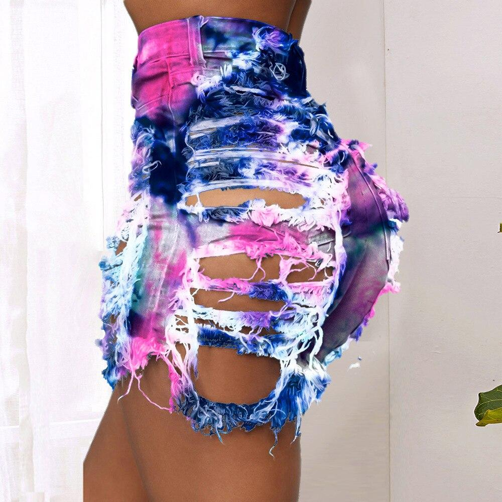 Ripped Denim Shorts For Women High Waist Tie-Dye Printing Short Jeans Summer Sexy Hollow Out Party Club Shorts