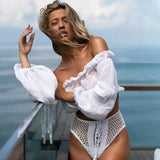 Women Bikini Cover Up Swimwear Beach Off-shoulder Blouse T-Shirt Top Summer Sexy Tee Beach Shirts Blouse Tops