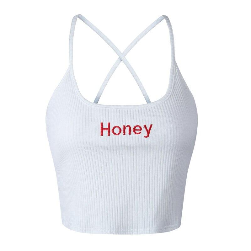 Women Honey Letter Strap Tank Tops Female Slip Crop Tops Sexy Camis Club Camisoles Ladies Short Tight Shirt